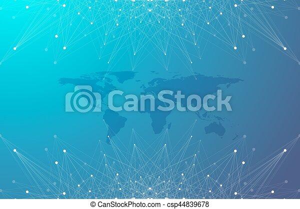 Political World Map with global technology networking concept. Digital data visualization. Lines plexus. Big Data background communication. Scientific vector illustration. - csp44839678