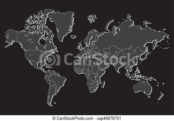 Political world map with shadow isolated on gray background vector political world map with shadow isolated on gray background vector illustration gumiabroncs Image collections