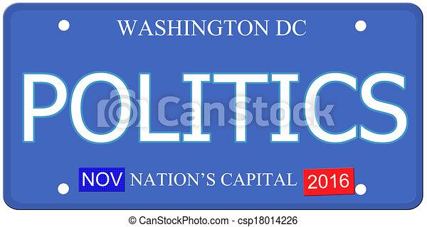 Politics Washington DC License Plate - csp18014226