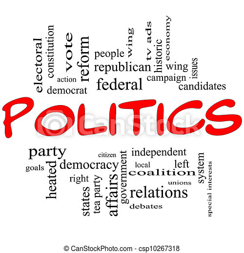 Politics Word Cloud Concept in Red Letters - csp10267318