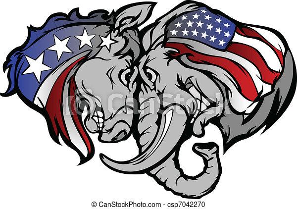politique, âne, carto, éléphant - csp7042270