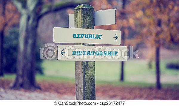 politique, concept, -, dictatorship, république - csp26172477