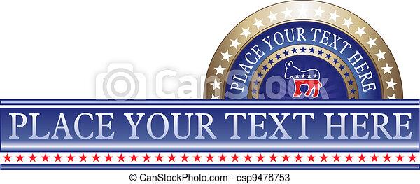 politique, démocrate, étiquette - csp9478753
