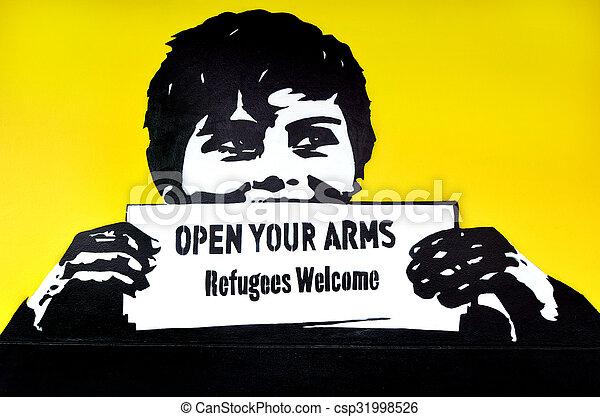 "politique, graffiti, slogan, welcome"", ""refugees - csp31998526"