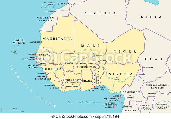 Afrika Karte Staaten.Politisch Westen Gebiet Afrikas Landkarte