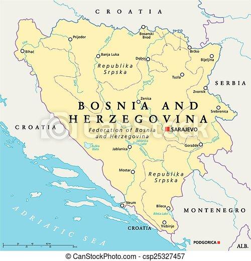 Karta Bosnien Och Hercegovina.Politisk Herzegovina Mamma Bosnien Karta Scaling Illustration
