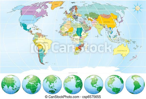 politisk, karta, värld - csp6575655