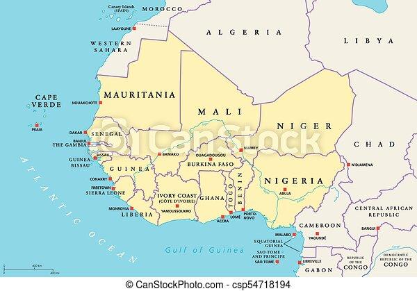 Politisk Vast Region Afrika Karta Illustration Lander