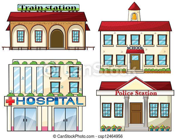 polizia, scuola, treno, ospedale, stazione, stazione - csp12464956