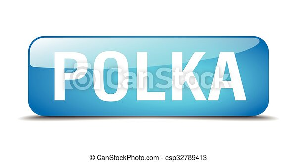 polka blue square 3d realistic isolated web button - csp32789413