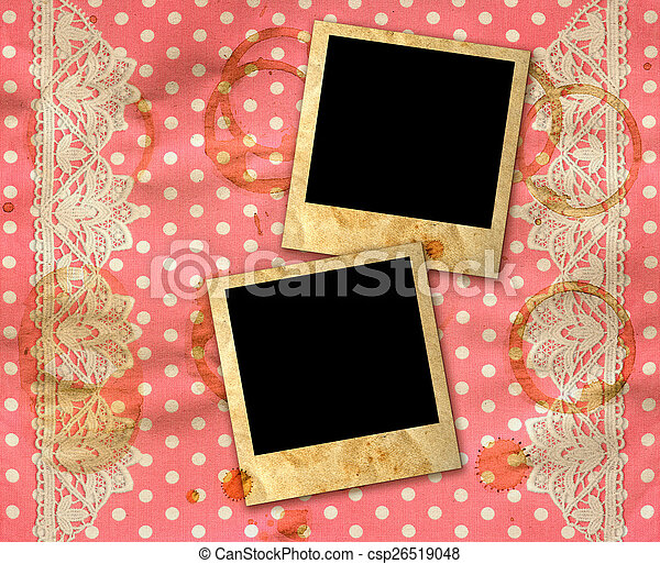 Two old photo frames over dirty pink white polka dot background with ...