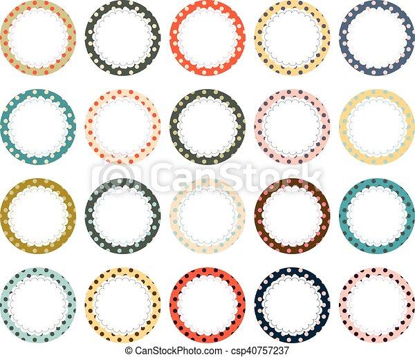 Polka dot scalloped circle label frames. A vector collection ...