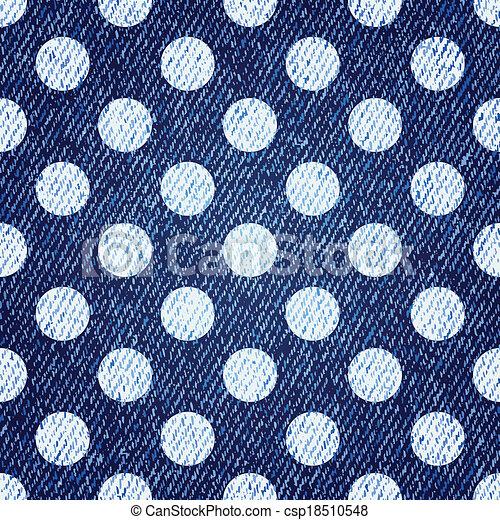 polka-kropka, dżinsy, seamless, tło., wektor, retro - csp18510548