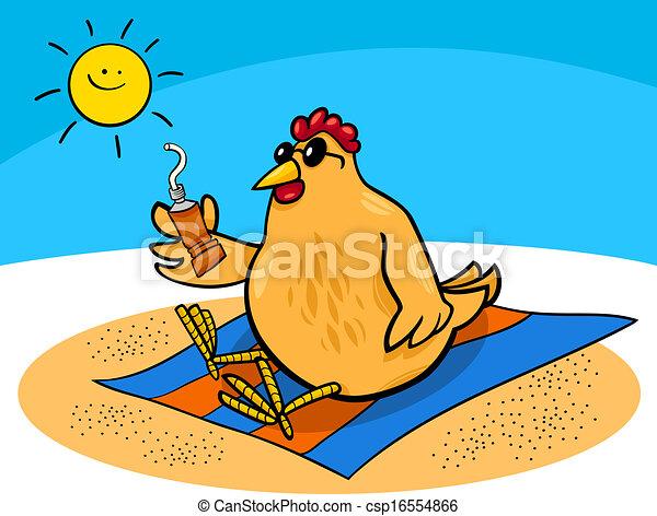 Pollo en los dibujos de la playa - csp16554866