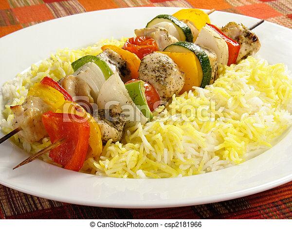 pollo, riso, kebabs - csp2181966