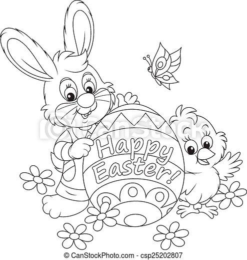Conejo de Pascua y pollito - csp25202807