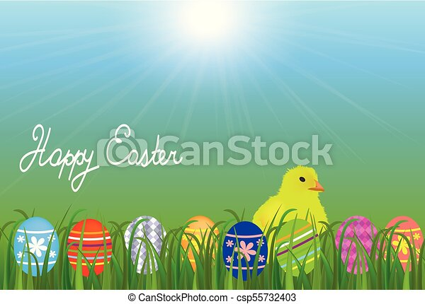 Una chica en el prado con huevos de Pascua - csp55732403