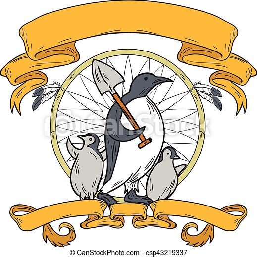 Pingüino pala dibujo del cazador de sueños - csp43219337