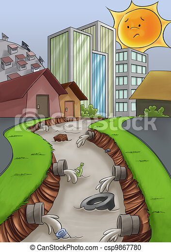 Pollution in the city city without a drain care