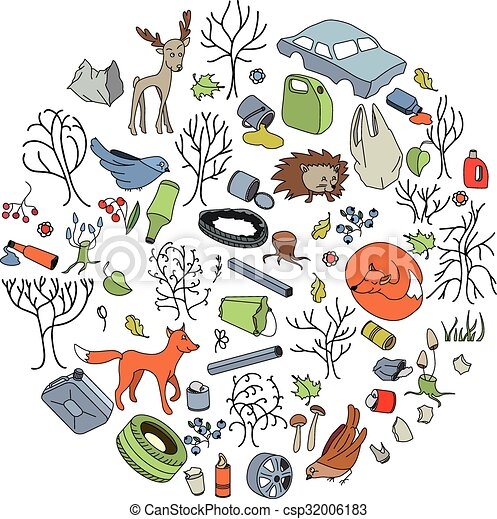 pollution of the environment garbage and waste in forests Cartoon Earth Clip Art Black and White Earth Recycle Clip Art