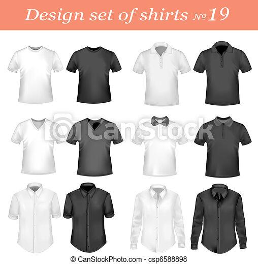 polo, nero, bianco, uomini, camicie - csp6588898
