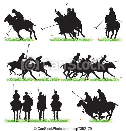 Polo Players Silhouettes Set  - csp7352179