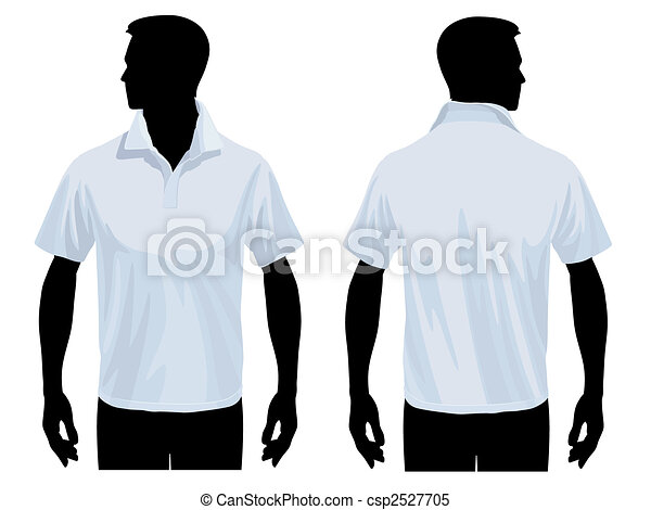 Polo shirt template. Men body silhouette with polo shirt template ...