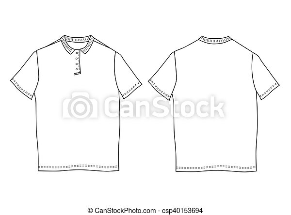 Vector illustration polo shirt template. front and back... eps ...