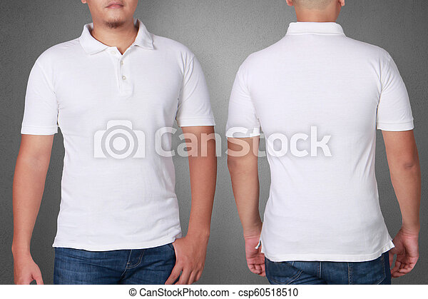 fc7f4799 Polo shirt template mock up. White polo t-shirt mock up, front and ...