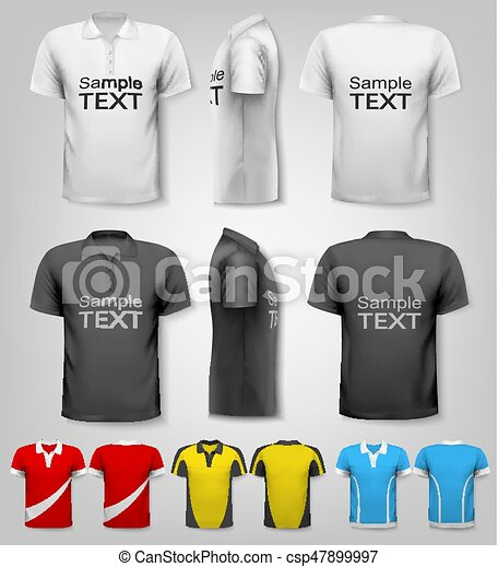 Polo shirts with sample text space. Vector. - csp47899997