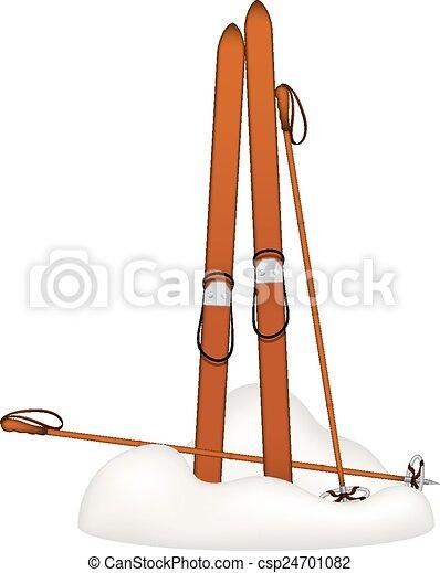 Polonais skis alpin vieux ski debout vieux bois - Ski alpin dessin ...