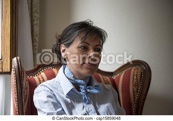 poltrona, assento mulher - csp15859048