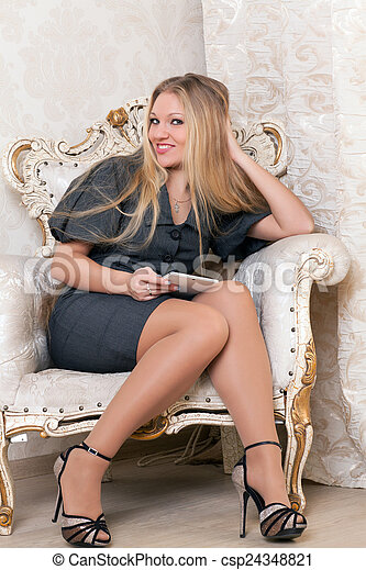 poltrona, assento mulher - csp24348821