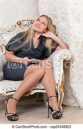 poltrona, assento mulher - csp24348823