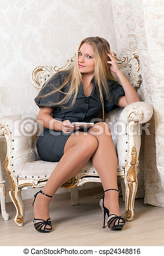 poltrona, assento mulher - csp24348816