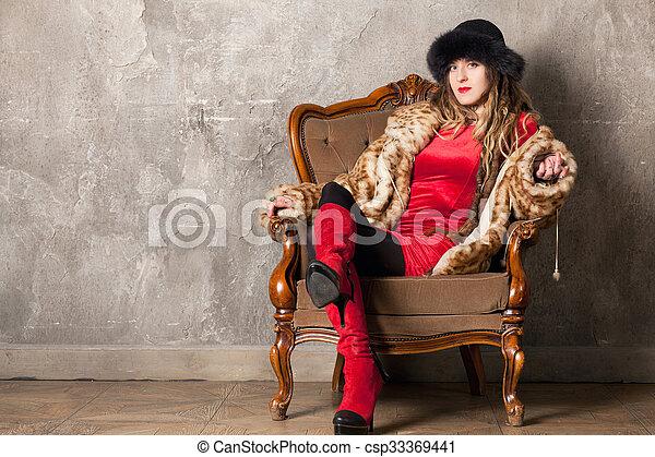 poltrona, mulher - csp33369441
