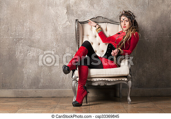 poltrona, mulher - csp33369845