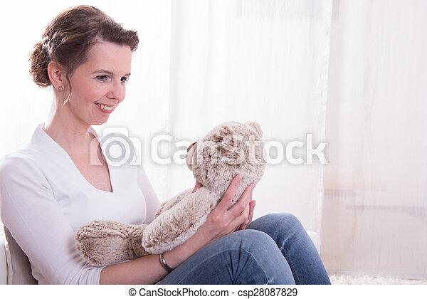 poltrona, sentando, mulher, pelúcia - csp28087829
