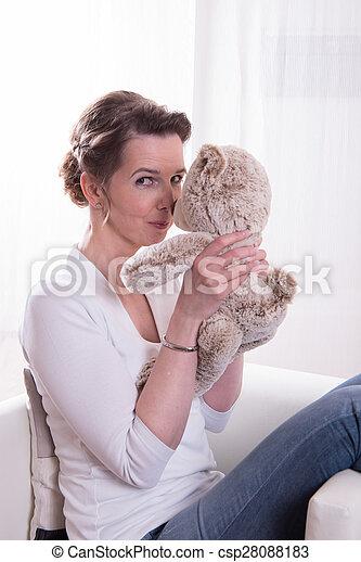 poltrona, sentando, mulher, pelúcia - csp28088183