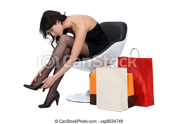 poltrona, shopping mulher - csp8534748