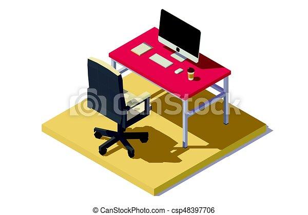 poly, 等大, 低い, オフィス, 仕事場 - csp48397706