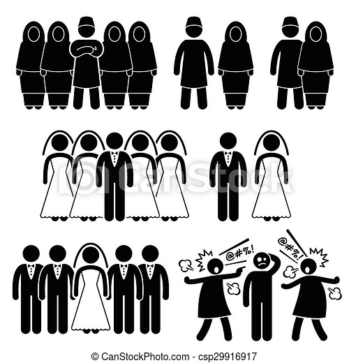 Polygamy Marriage Muslim Islam - csp29916917