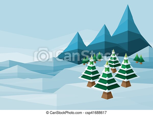 Polygon Christmas Snow Winter Background - csp41688617