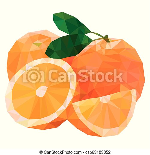 Polygon Fruit Abstract Vector Illustration Of An Oranges