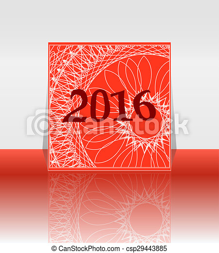 polygon numbers of New Year 2016 over elegant festive colorful background, for greeting, invitation card, or cover - csp29443885