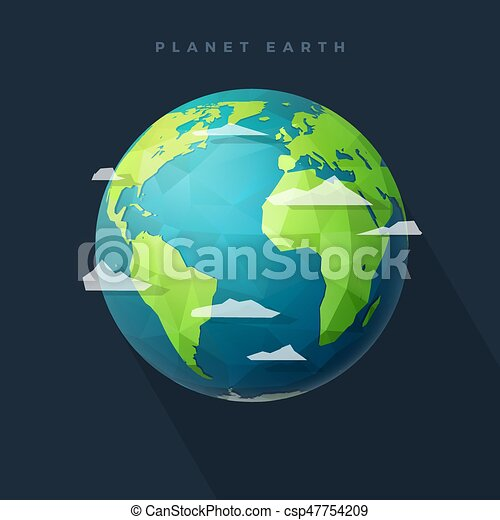 polygon west earth hemisphere on dark - csp47754209