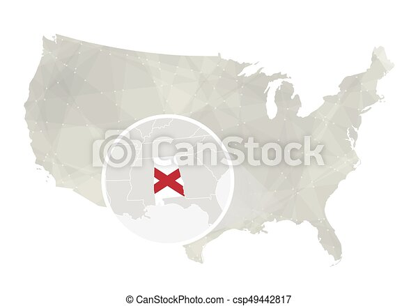 Line Art Usa Map : Polygonal abstract usa map with magnified alabama state vector