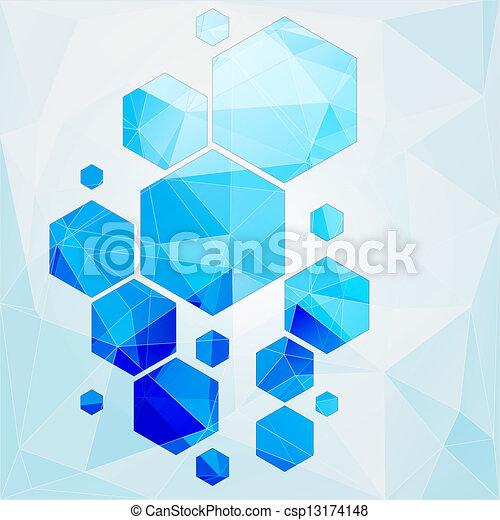 polygonal, célula, abstratos, tecnologia, fundo - csp13174148
