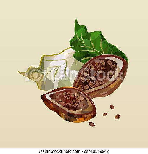 polygonal cocoa beans - csp19589942