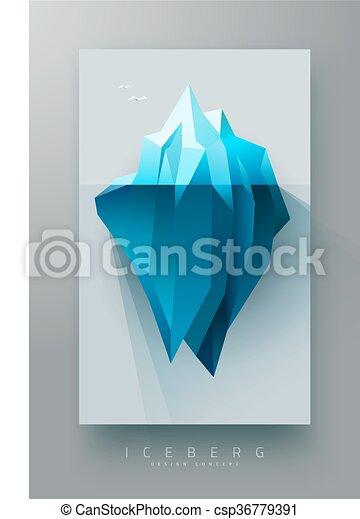 polygonal, góra lodowa, projektować, chorągiew - csp36779391